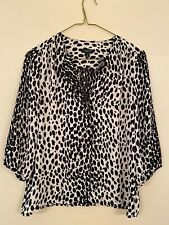 Talbots Animal Print Black Beige Button Front Petite 4
