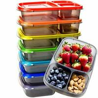 7 Pack Bento Lunch Box Meal Prep Containers Reusable 3 Compartment Plastic