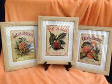 3 French Surfine Eau De Noux Sirip d'Ananas Fruit Pineapple Art In Frames
