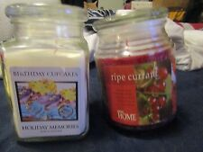 2 CANDLES IN GLASS JARS 1 ROUND EMPIRE HOME RIPE CURRANT 2ND HOLIDAY MEMORIES BI