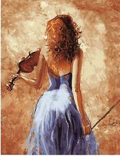 """VIOLIN GIRL ABSTRACT PAINTING PAINT BY NUMBERS CANVAS KIT 20 x 16"""" FRAMELESS"""