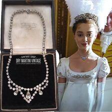VINTAGE 1950s BRIDGERTON STYLE CLEAR DIAMOND RHINESTONE SWAG NECKLACE