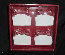 NIKKO HOLIDAY HEARTH 3D RIBBON PORCELAIN PLACE CARD HOLDERS SET OF 4 NIB NEW