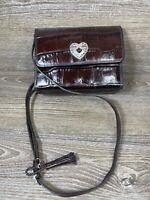Brighton Brown  Croc EMBOSSED Clutch Crossbody Wallet Bag NICE