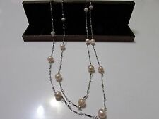 Handmade Long 7-8 mm Natural Pink Freshwater Pearl With Silver Chain 49-50 in.