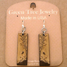 Natures Window Brown & Tan Laser Cut Wood Earrings by Green Tree Jewelry