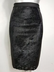 RAOUL DESIGNER SIZE UK 4 EU 32 WOMENS BLACK ANIMAL CALF FUR PENCIL FORMAL SKIRT