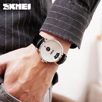 SKMEI Men's Quartz Watch Luxury Stainless Steel Leather Strap Wristwatch 1489 C