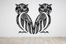 Vinyl Sticker Two Owls Couple Birds Zoo Forest Mural Decal Wall Art Decor ZX480