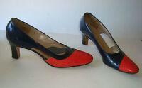 Vintage Miss Wonderful 2-Tone Patent sz 7 -2A Heel Shoes Gorgeous Classic Style
