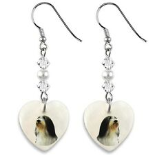 Bearded Collie 925 Sterling Silver Heart Mother Of Pearl Dangle Earrings EP255
