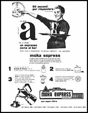 PUBBLICITA' MOKA EXPRESS  BIALETTI CAFFETTIERA EDI CAMPAGNOLI CRUSINALLO 1957