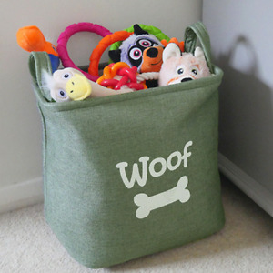 Rosewood Forest Canvas Bag | Pet Dog Toy Carrier | Basket Storage Box 33x27x20cm