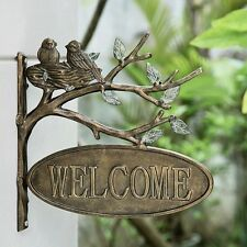 Lovebirds Welcome Hanging Sign Outdoor Garden Plaque Wall Mounted Birds