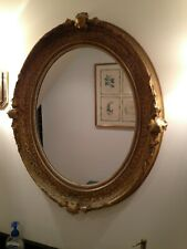Fine 19th Century Oval Gold Gesso over Wooden Gold Gilt Mirror Frame