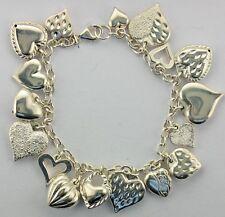 "MAURITIUS JCM Sterling Silver Puffy Heart Dangle Charm Bracelet 8"""