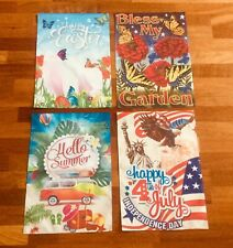 Garden Flags Small Lot Of 4 Bless My Garden, 4th July, Hello Summer,Happy Easter