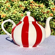 Bella Lux Holiday Collection Red & White Stripe Teapot With Gilt Accents.