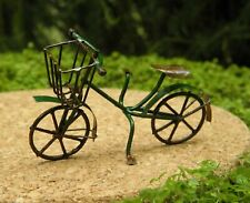 Miniature Dollhouse Fairy Garden Antiqued Green Metal Bicycle - Buy 3 Save $5