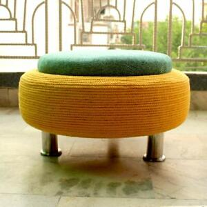Recycled Tyre Handmade Ottoman for Living Room with Storage Poufs Footstools