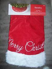 "Sandra Lee Tree Skirt 48"" Merry Christmas Red & White"