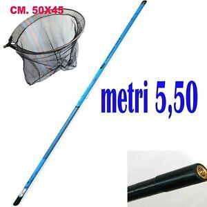 manico guadino telescopico palo mt.5,50 m. con testa pesca trota fiume mare lago