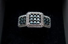 9ct gold ring blue and white diamond clusters N