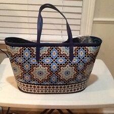 NWT orYANY PVC Blue Multicolored Moroccan Pattern Tote Handbag TT002 MRCCO