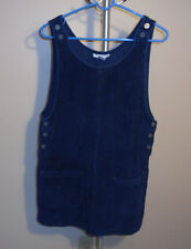 New York Jeans Co Wide Wale Blue Cotton Corduroy Sleeveless Top Tunic Jumper