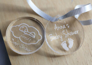 BABY SHOWER ROUND ACRYLIC TAGS BOMBONIERE FAVOURS MUM TO BE GIFT LASER ENGRAVED