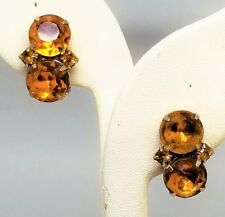 Topaz color Glass Vintage Clip On Earrings