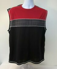 Xpbx Men's Muscle Shirt Tank Top, Large, Black & Red Sleeveless Pullover Stretch