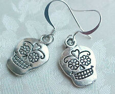 Day of the DEAD Earrings CLASSIC Sugar Skull Charm Silver Mexican Folk Art Party