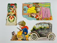 Antique vtg Valentines 51 Lot (4) Germany Diecut Car Hunting Cards mixed
