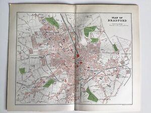 Plan Of BRADFORD c1891 Antique City Map, Original, ENGLAND Atlas