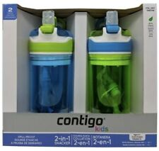 Contigo Kids Snacker To Go Cup 2-in-1 Spill Proof 2Pk Green/Blue Snack Cup 3+