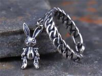 Silberring Hase Vintage Geschwärzt Geflochten Draht Durchlöchert Ring Silber