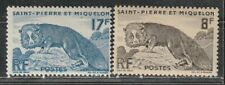 1952 French colony stamps, Pierre & Miquelon, Fox full set MH, SC 343-4