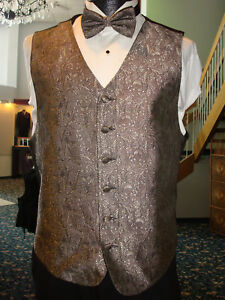 Gold Floral Pattern Formal Vest w Matching Bow & Hanky - Fullback - Mens Medium