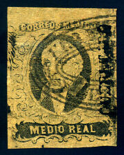 Mexico. 1861. 1/2 Real. Black. SC# 6. with Ovpt. XF Used