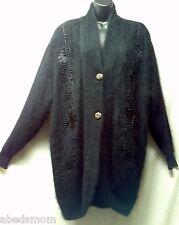 AMELIA AUSTIN Black Angora Embroidered Beaded Cardigan Free Size (XL- Plus) EUC