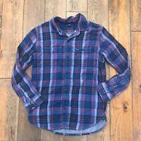 GAP Kids Boys Size XL 12 Plaid Long Sleeve Red Navy Flannel Shirt