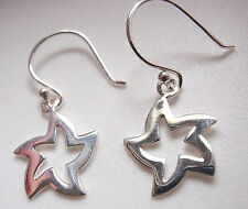 Curved Moving Star Earrings 925 Sterling Silver Dangle Corona Sun Jewelry