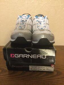 Louis Garneau Women's Lite Trainer Cycling Shoes White Silver Blue Size 7 NEW