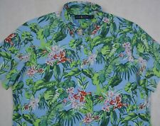 Ralph Lauren Shirt 3xl Big Blue Hawaiian Floral Print