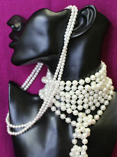 Bulk Lot 2 Faux Pearl Necklaces Craft Market Stall Dress Up Decorations VG 0321