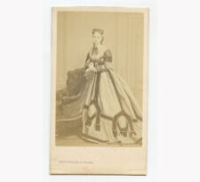 LADY W/ BEAUTIFUL, UNIQUE DRESS, FRANCE, CDV PORTRAIT, LEVITSKY