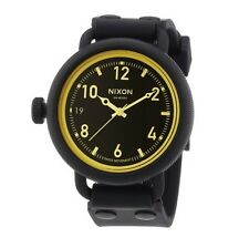 NIXON OCTOBER BLACK MATTE TONE+ORANGE DIAL,BLACK RUBBER BAND WATCH A488135400
