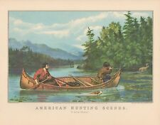 "1952 Vintage Currier & Ives ""HUNTING MOOSE FROM CANOE"" TRAPPERS COLOR Lithograph"