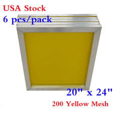 """USA 6Pcs 20"""" x 24"""" Aluminum Printing Screens Frame With 200 Yellow Mesh Count"""